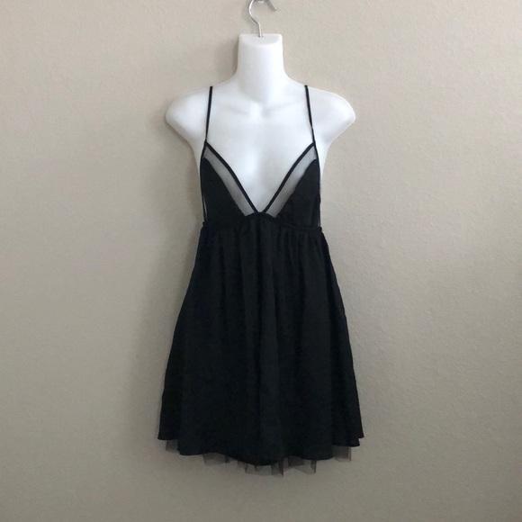 Black Spaghetti Strap Short Dress